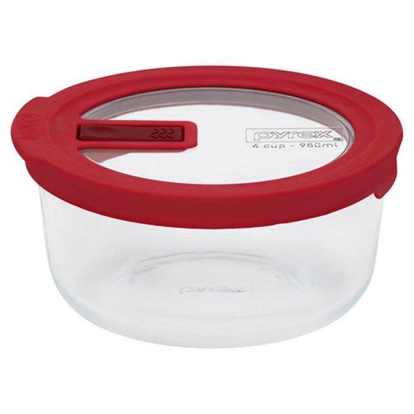 Pyrex No-leak Lid Round Storage Dish 4-cup