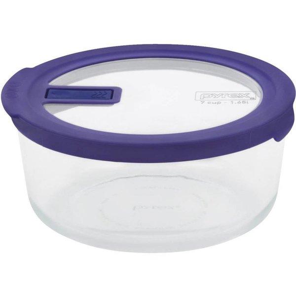 Contenant rond 7-tasses avec couvercle sans-fuite de Pyrex
