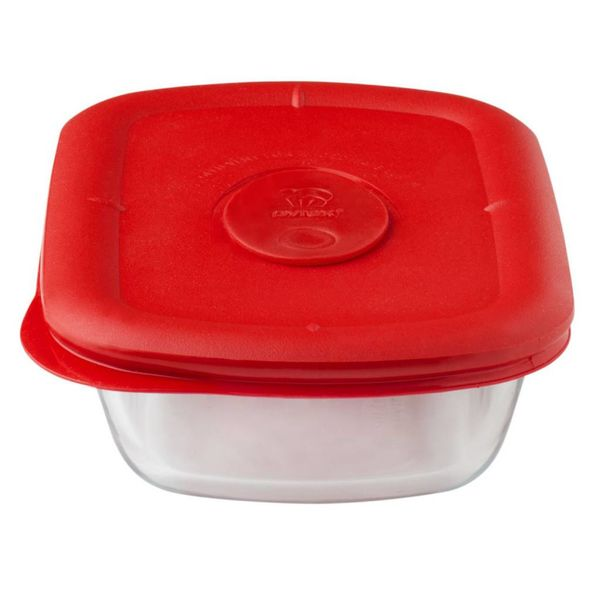 Contenant rectangulaire Pro 1.875-tasses avec son couvercle rouge de Pyrex