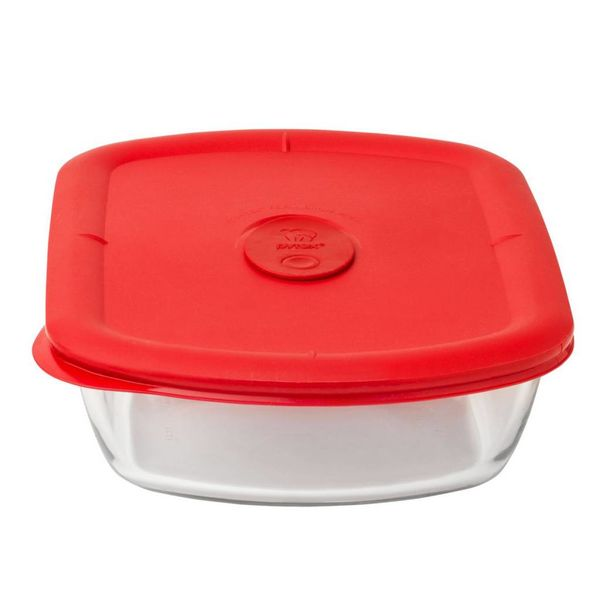 Pyrex Pro 5 Cup Rectangle Storage Bowl w/ Red Vented Lid
