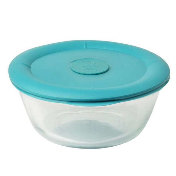 Pyrex Pro 3.67 Cup Oval Storage Dish w/ Turquoise Vented Lid