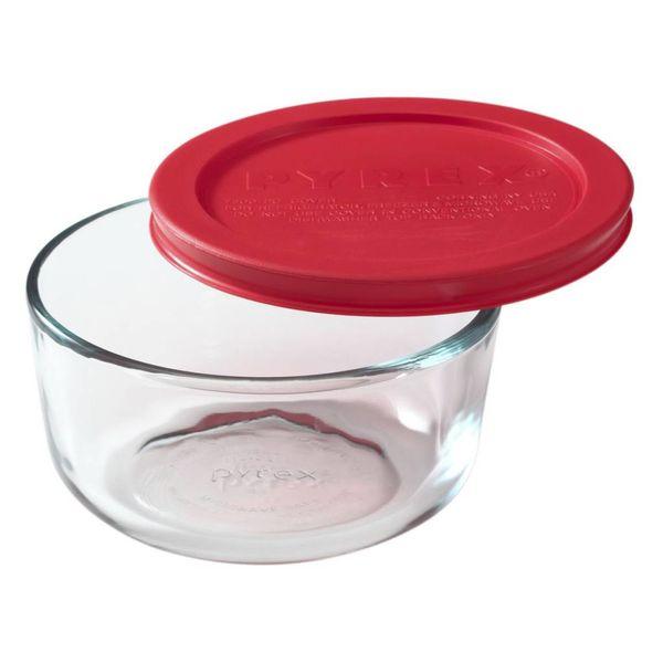 """Plat rond 2-tasses """"Simply Store"""" avec son couvercle rouge de Pyrex"""
