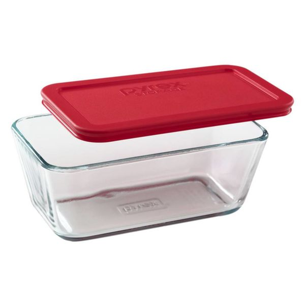 Pyrex Simply Store 4.75 Cup Rectangular Dish w/ Red Lid
