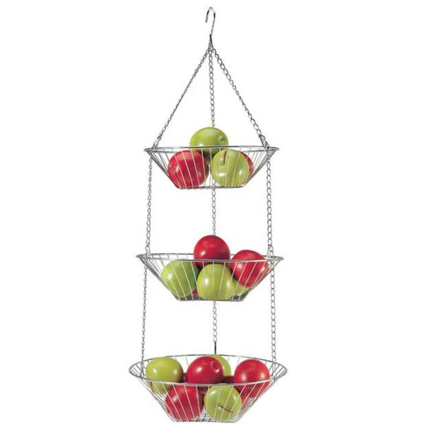 Danesco 3 Tier Chrome Hanging Basket