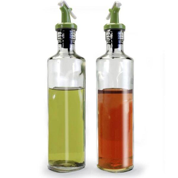 OIL & VINEGAR BOTTLES W/GREEN