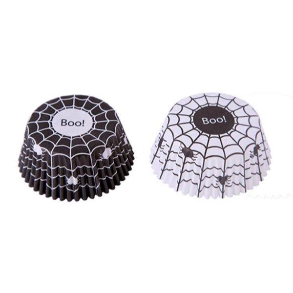 Fox Run Black & White Spiderweb Bake Cups