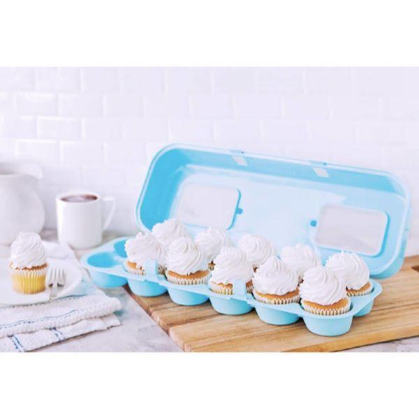 Transporteur pour 12 cupcakes bleu de Bakelicious