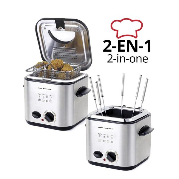 2-in-1  Cool Kitchen Stainless Electric Fondue / Deep Fryer