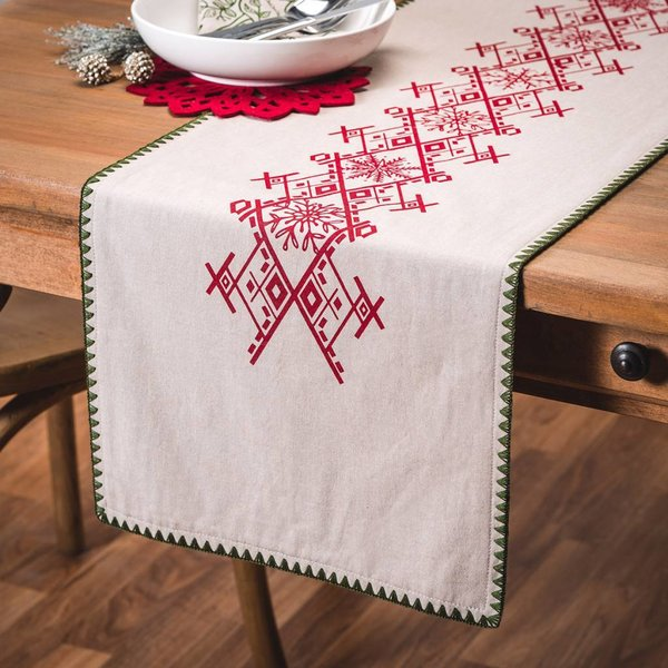 Ricardo Nordic Forest Table Runner with Red Embroideries