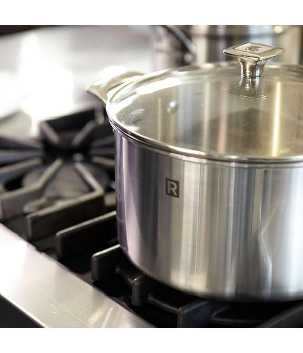 Casserole en acier inoxydable 3 plis de 4l avec couvercle for Tablier de cuisine ricardo
