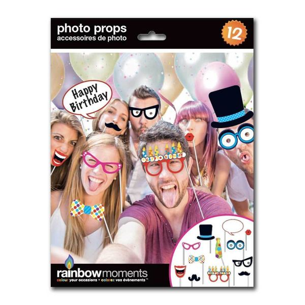 Rainbow Moments BIRTHDAY PHOTO PROP KIT (12-PACK)