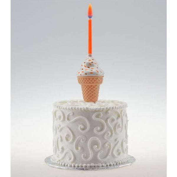 MUSICAL ICE CREAM CONE CAKE TOPPER WITH COLOR FLAME CANDLE