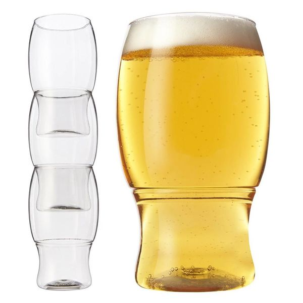 TOSSWARE Set of 3 stackable REUSABLE/Recyclable Plastic Beer Pints