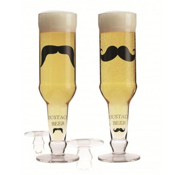 """Ensemble de 2 verres à bière """"La Moustache"""" de Brilliant"""