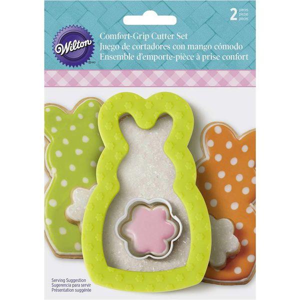 Set of 2 Wilton Bunny Comfort Grip Cookie Cutters