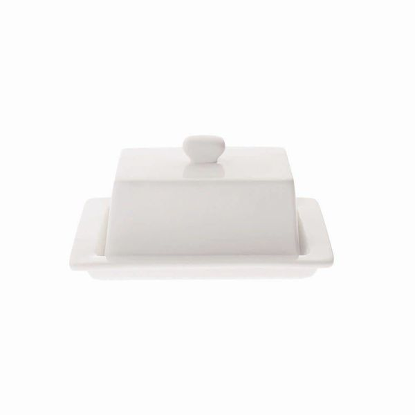 Porcelain Square Covered Butter Dish by Maxwell & Williams