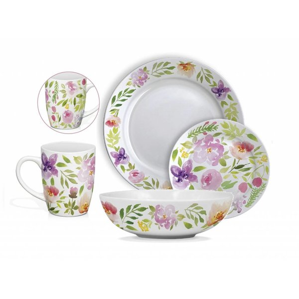 "16pc ""Rose Aquarelle"" Dinnerware Set by H2K"