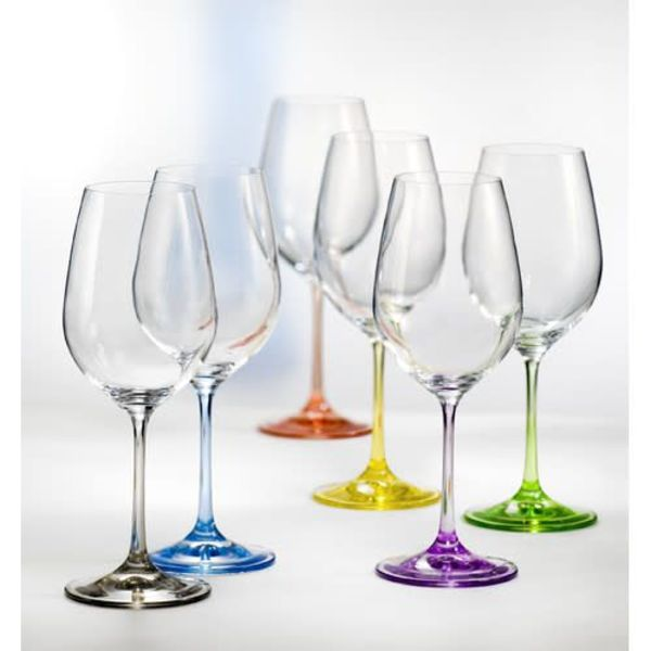 "Ensemble de 6 verres à vin ""Arc-en-ciel"" par David Shaw"