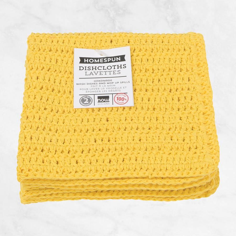 Ensemble de 2 linges de cuisine homespun jaune citron for Accessoire cuisine jaune