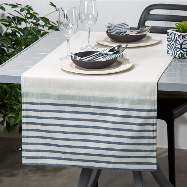Ricardo Blue Striped Chambray Table Runner