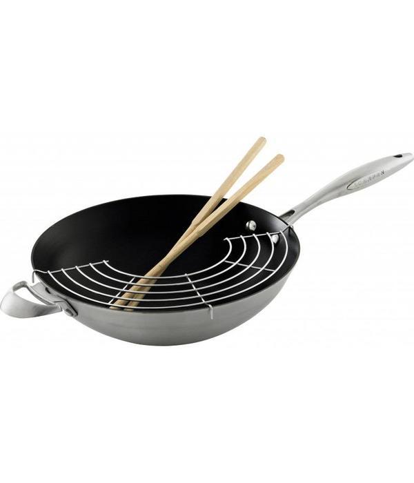 wok 32cm avec support et baguettes de cuisson ctx de scanpan a ares cuisine. Black Bedroom Furniture Sets. Home Design Ideas