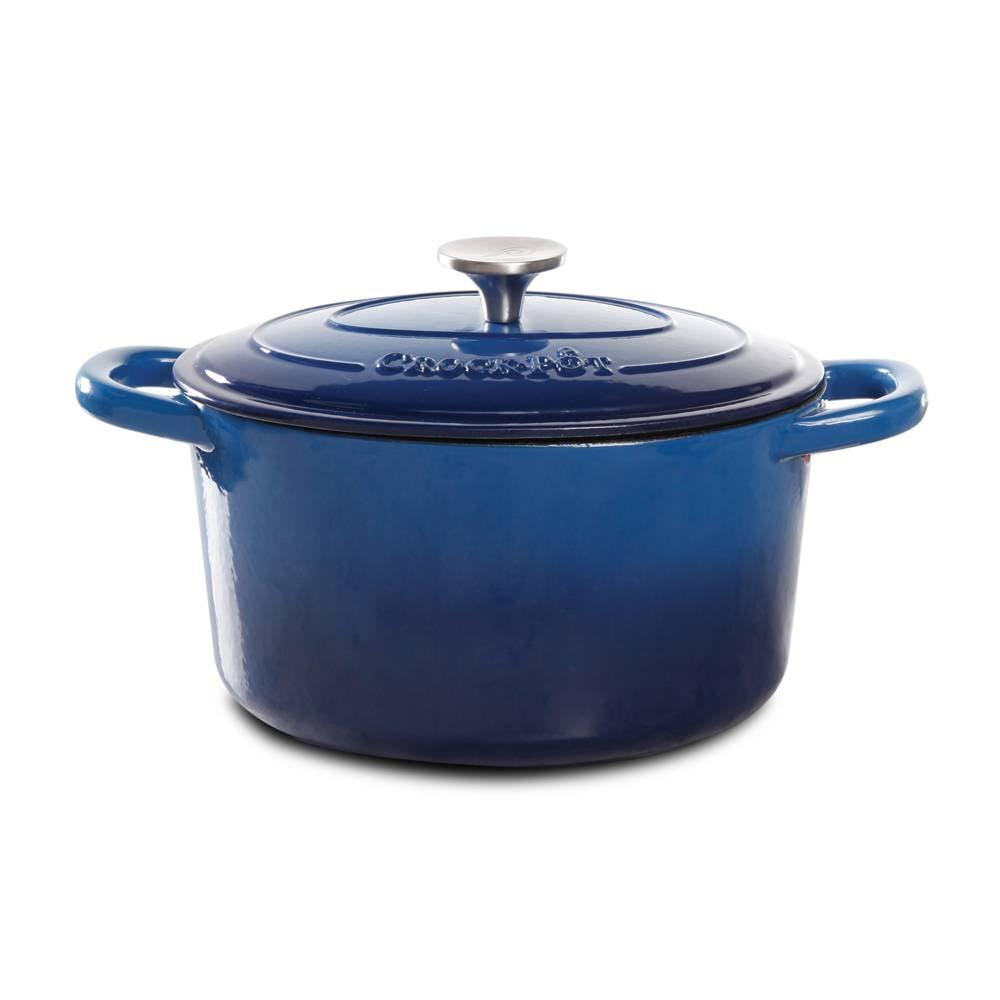casserole en fonte maill e ronde 5qt bleu de crockpot b. Black Bedroom Furniture Sets. Home Design Ideas