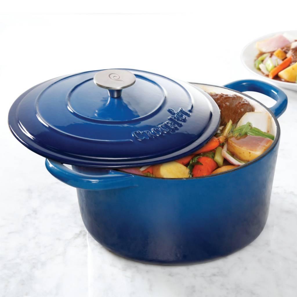 casserole en fonte maill e ronde 7qt bleu de crockpot b ares cuisine. Black Bedroom Furniture Sets. Home Design Ideas