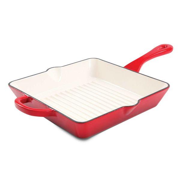 Poêle striée 25.4cm  carré en fonte émaillée rouge de CrockPot