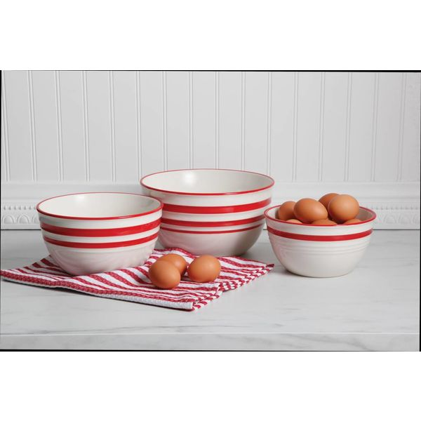 Gibson Home General Store Hollydale 3 Piece Nesting Bowl, Red