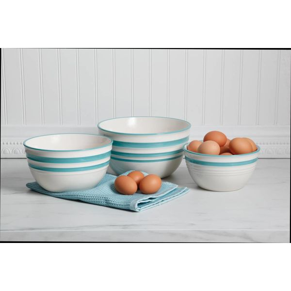 Gibson Home General Store Hollydale 3 Piece Nesting Bowl, Blue