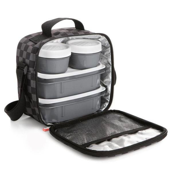 "Tatay ""Urban Food""  Grey with Chess Pattern Lunch Bag"