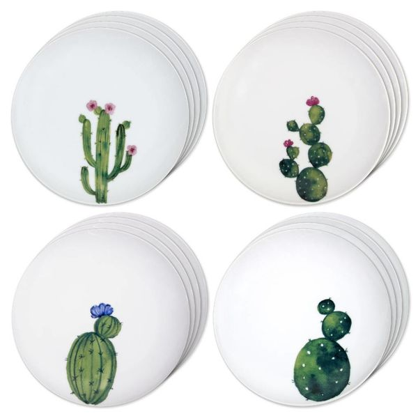 "Set of 4 H2K ""Cactus"" Ceramic Plates"