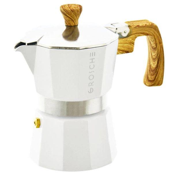 """Grosche """"Milano"""" 9 Cup Stovetop Espresso Maker White"""
