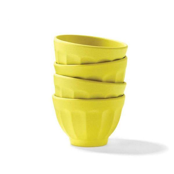 4 Bols à dessert jaune citron en bambou par Ricardo