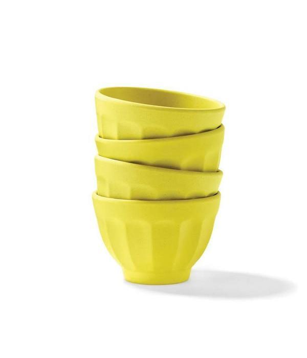 Ricardo 4 Bols à dessert jaune citron en bambou par Ricardo