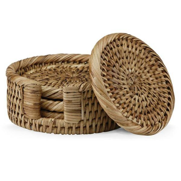 The French Chefs™ 4-piece Rattan Round Coasters Set