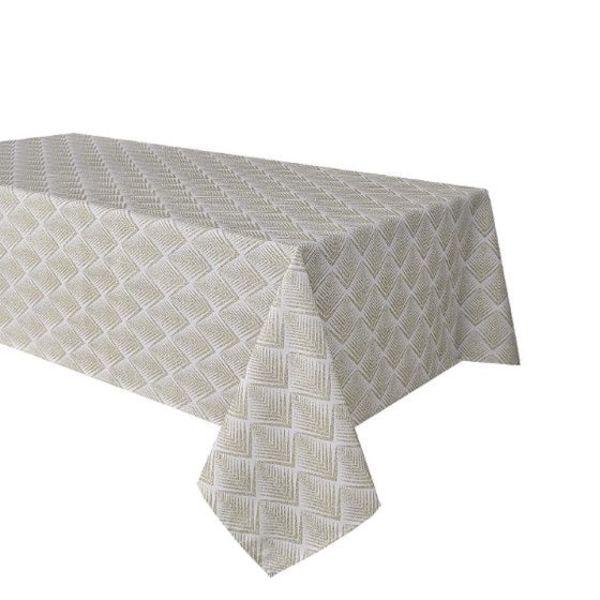 "TexStyles Deco Printed Tablecloth ""Chevron Beige"" 58 x 94"""