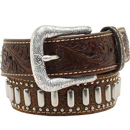 """Ariat Silver Tabs, Crosses and Spots 1 1/4"""" Youth Belt"""