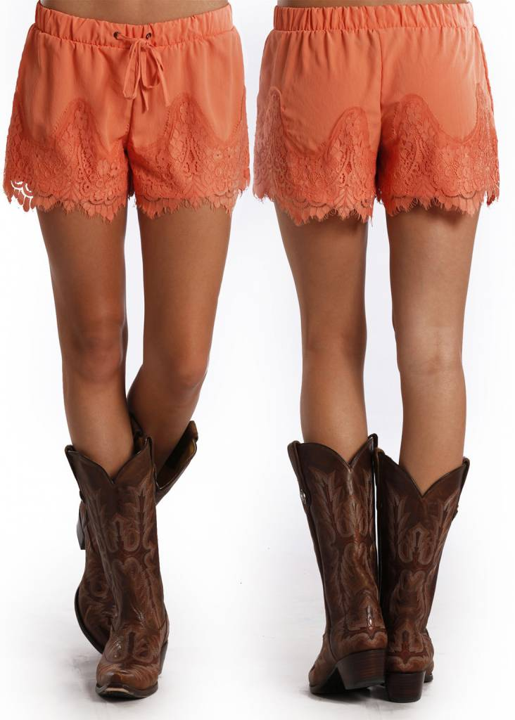 Rock & Roll Cowgirl Nectarine Lace Trim Short