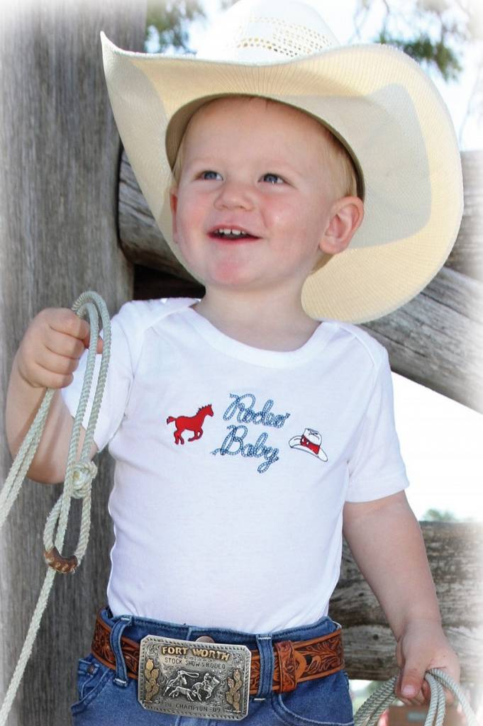 "Wrangler All Around Baby, ""Rodeo Baby"" White Onesie"