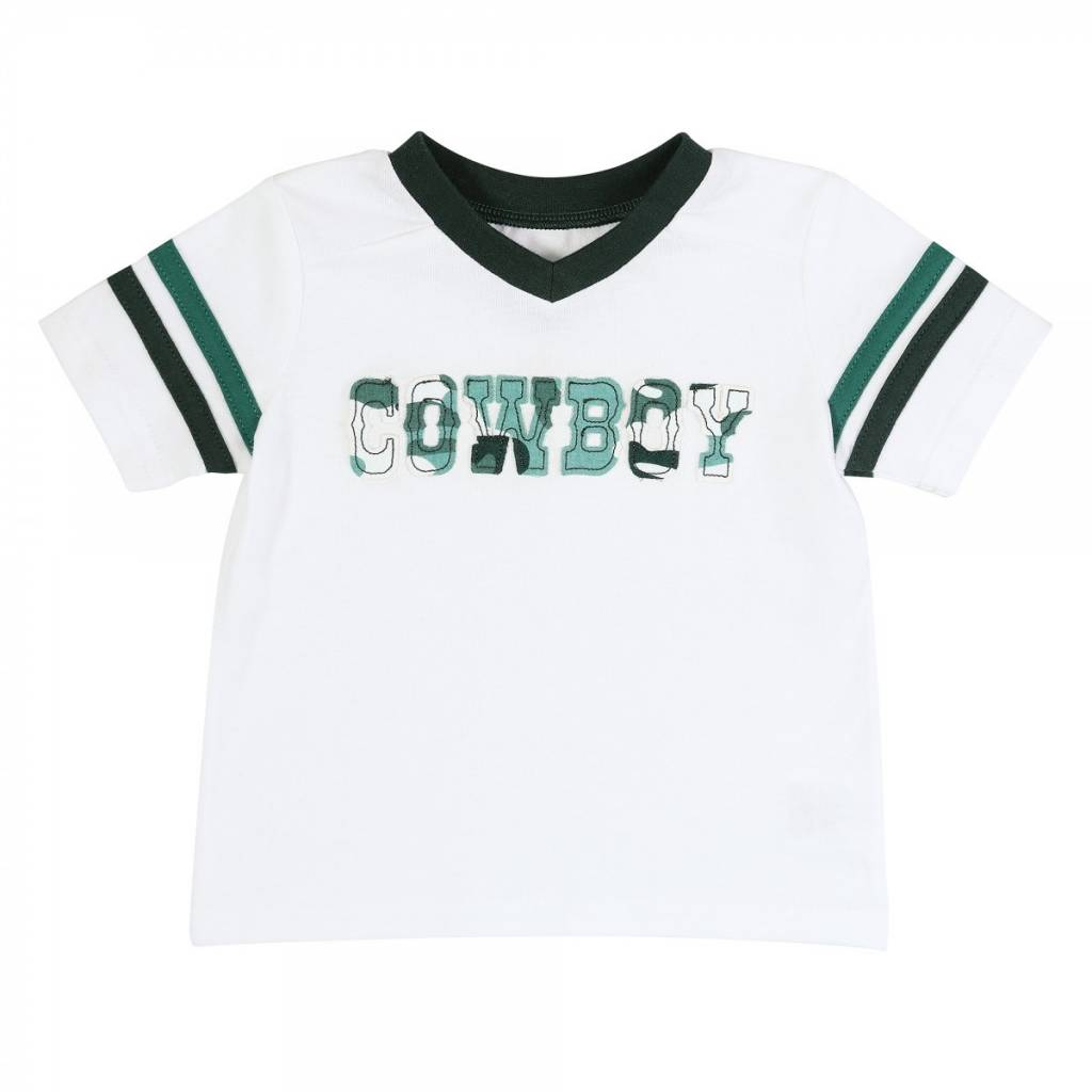 "Wrangler All Around Baby, Boys Green Camo Sport Sleeve ""Cowboy"" Tee"