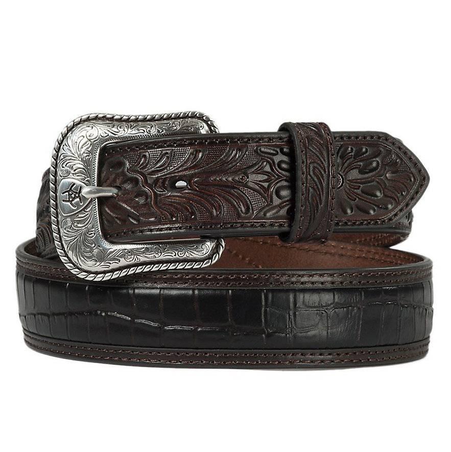Ariat Embossed Floral Tab Croc Center Dark Brown Men's Belt