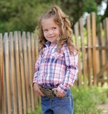 Cruel Girl Infant & Toddler Coral & Navy Plaid Snap Western Shirt