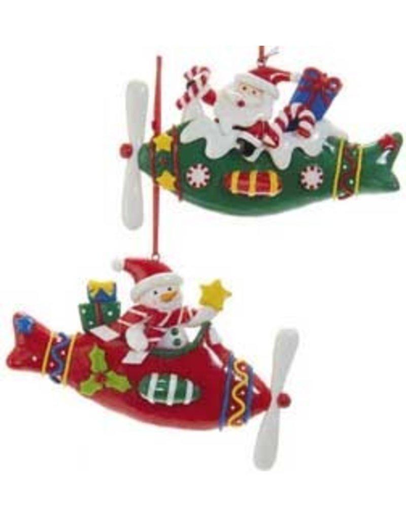 Snowman & Santa Plane Ornament