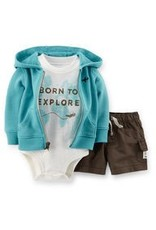 BORN TO EXPLORE 3-piece hooded cardigan set