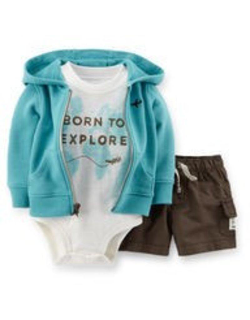 BORN TO EXPLORE 3-piece hooded cardigan set