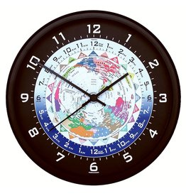 World Time Clock, Black Frame, 10""