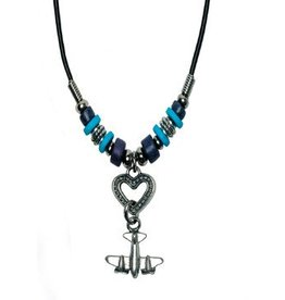 AIRPLANE WITH HEART Necklace