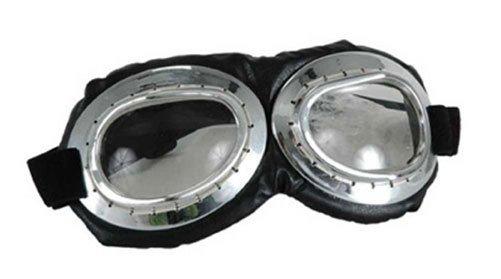 Costume Aviator Goggles (Silver/Black/Clear)