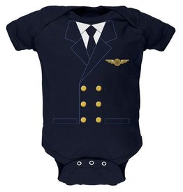 Pilot Uniform Baby Bodysuit Onesie (Navy)